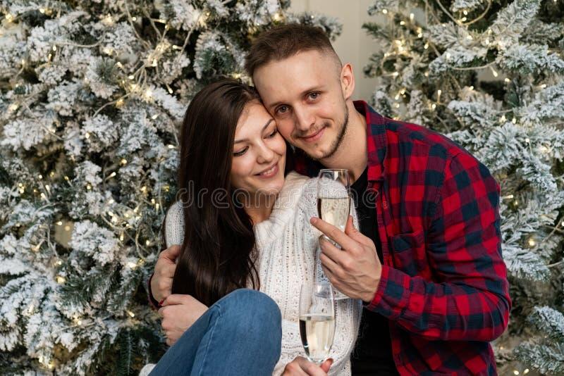 Pares románticos jovenes que celebran Año Nuevo cerca del árbol de navidad fotos de archivo