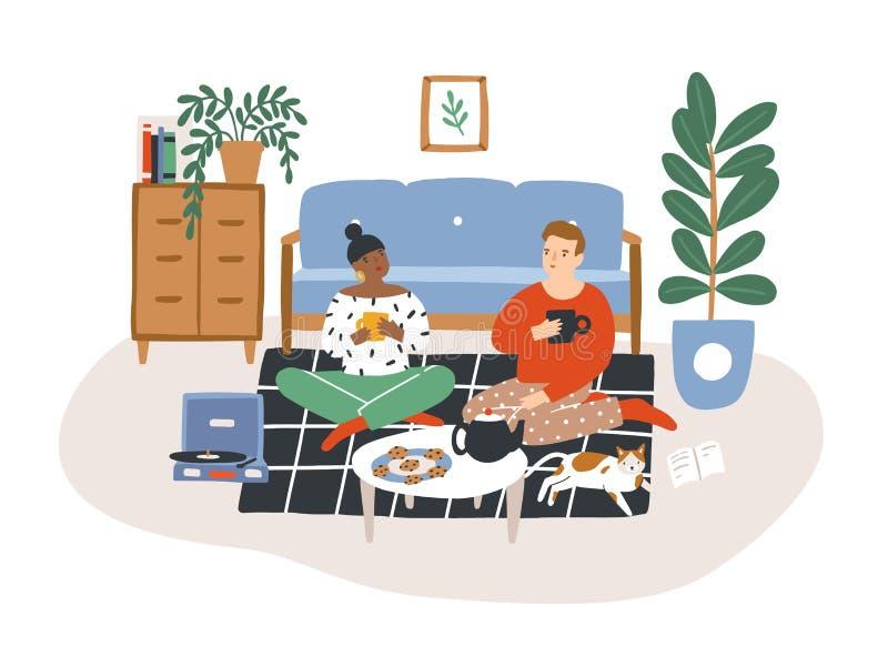 Pares románticos jovenes que se sientan en piso, té de consumición y comiendo las galletas por la tarde Hombre y mujer que pasan  ilustración del vector
