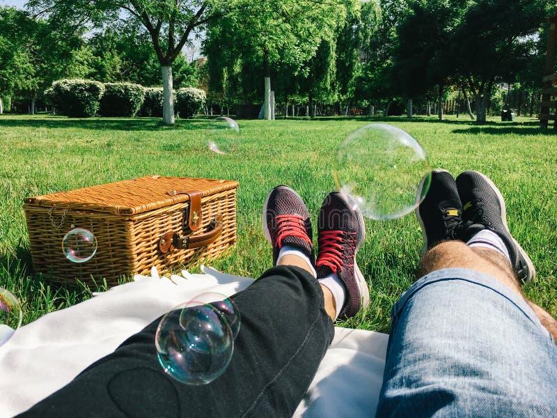 Pares románticos que se relajan el día de la comida campestre imagen de archivo libre de regalías