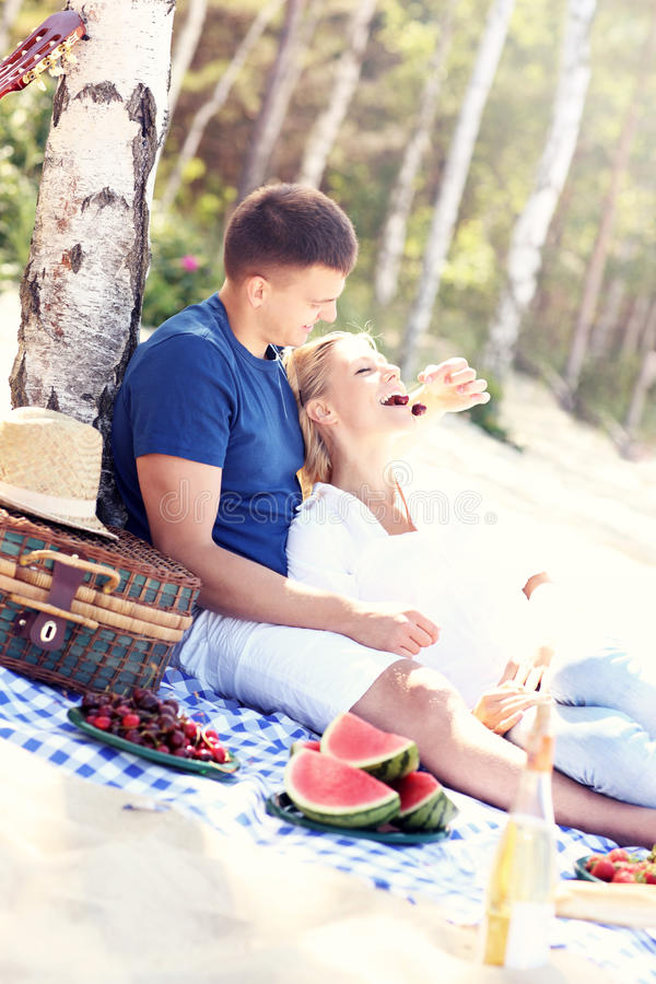 Download Pares Románticos Que Tienen Comida Campestre En La Playa Foto de archivo - Imagen de felicidad, romántico: 42425772