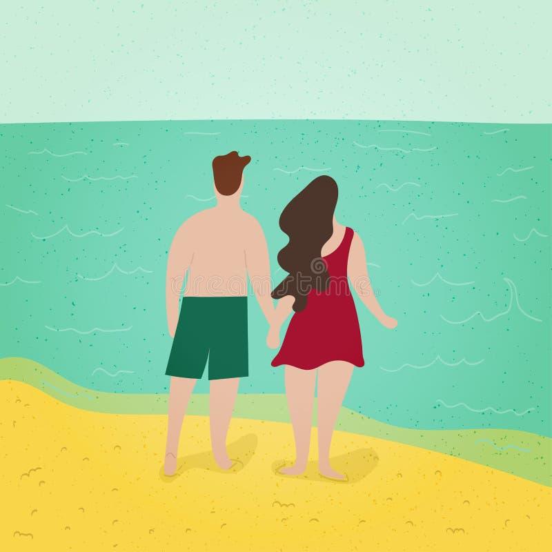 Pares románticos Romancing en la playa Rebecca 36 paisaje Hacer el amor Vacaciones del día de fiesta de la estación del tiempo de stock de ilustración