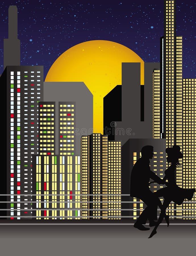 Pares románticos sobre la ciudad (ai. fichero disponible)