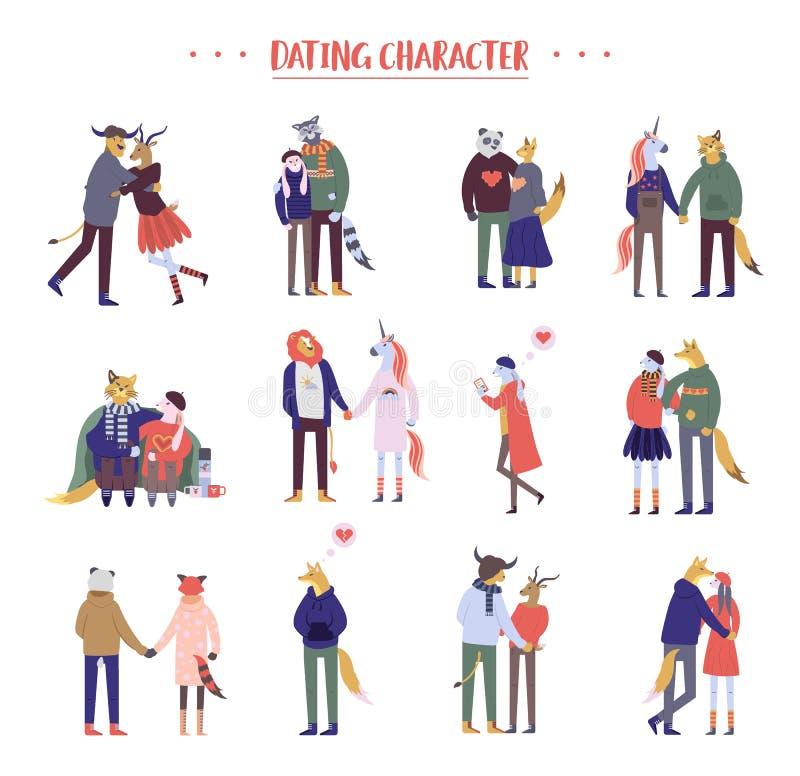 Pares românticos felizes dos desenhos animados lisos que andam junto no fundo branco Única menina só estando ou pares de homens ilustração royalty free