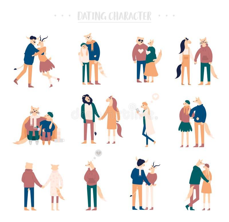 Pares românticos felizes dos desenhos animados lisos que andam junto no fundo branco Única menina só estando ou pares de homens ilustração stock