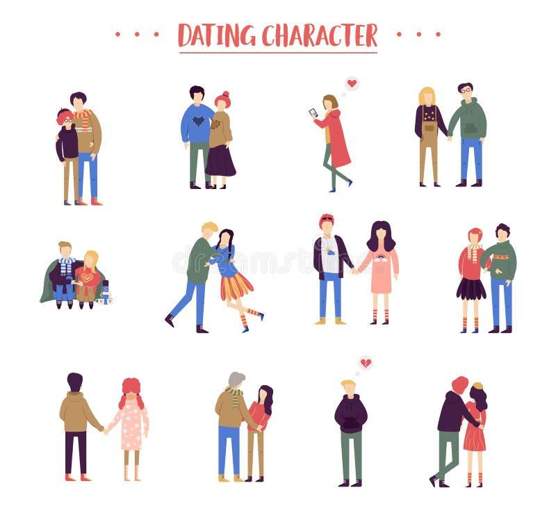 Pares românticos felizes dos desenhos animados lisos que andam junto no fundo branco Única menina só estando ou pares de homens ilustração do vetor