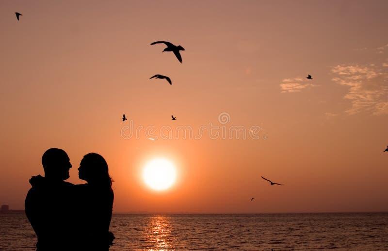 Pares românticos no por do sol imagens de stock royalty free