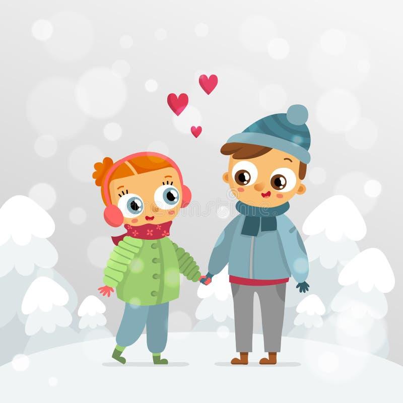 Pares românticos - projeto de cartão do vetor do dia de Valentim do St ilustração do vetor