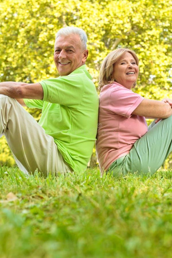 Pares sênior felizes que sentam-se na grama foto de stock royalty free
