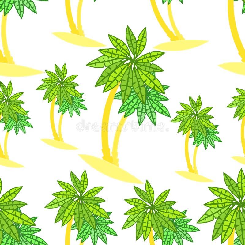 Pares sem emenda do teste padrão de palmeiras na ilha ilustração do vetor
