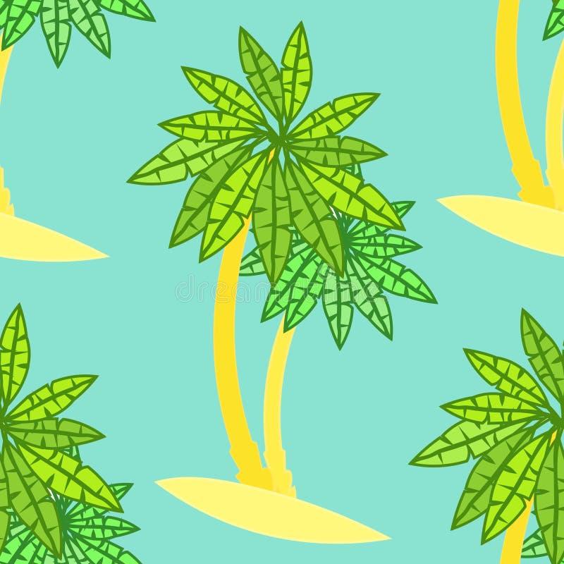 Pares sem emenda do teste padrão de palmeiras no fundo ilustração stock
