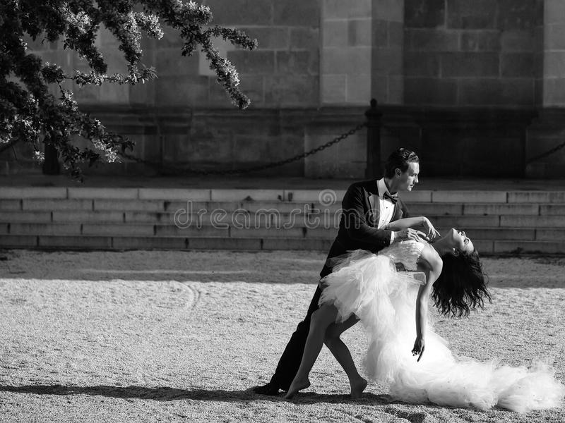 Pares 'sexy' do casamento que dançam exterior ensolarado foto de stock