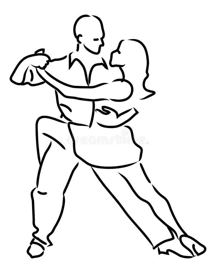 Pares simples del baile del lazo ilustración del vector