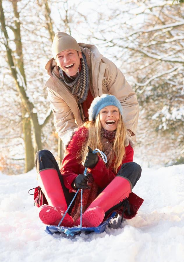 Pares Sledging através da floresta nevado foto de stock royalty free