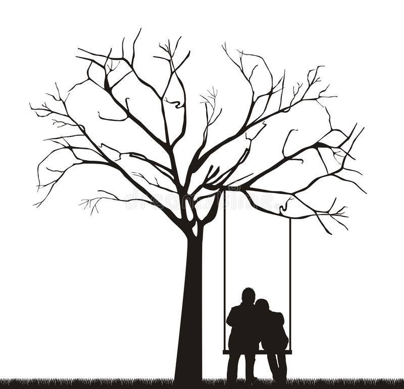 Pares sob a árvore ilustração royalty free