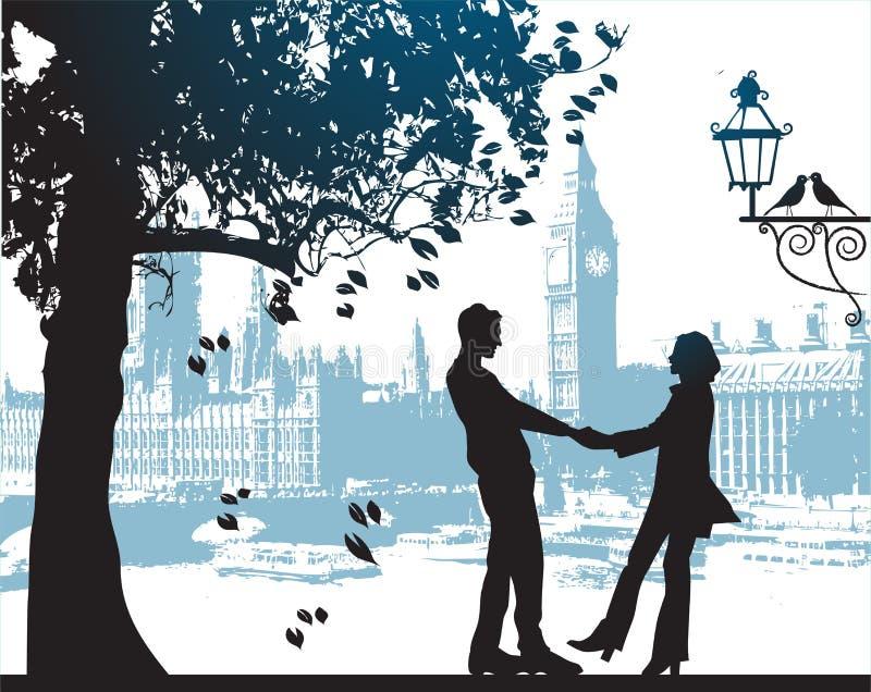 Pares sob a árvore no parque da cidade ilustração stock