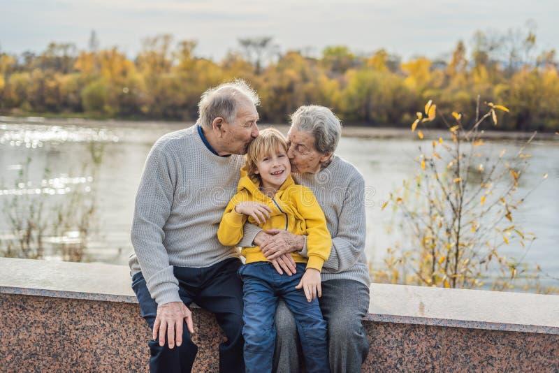 Pares superiores com o neto do bebê no parque do outono Bisavó, bisavô e grande-neto fotos de stock royalty free