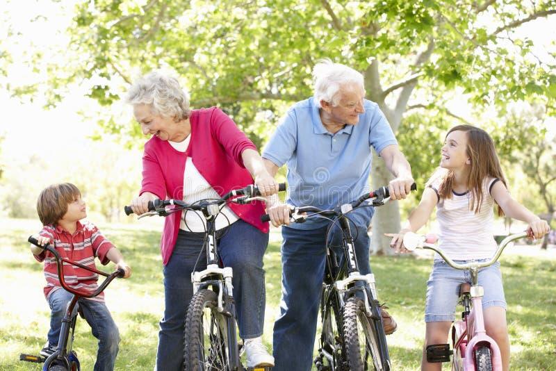 Pares superiores com os netos em bicicletas foto de stock