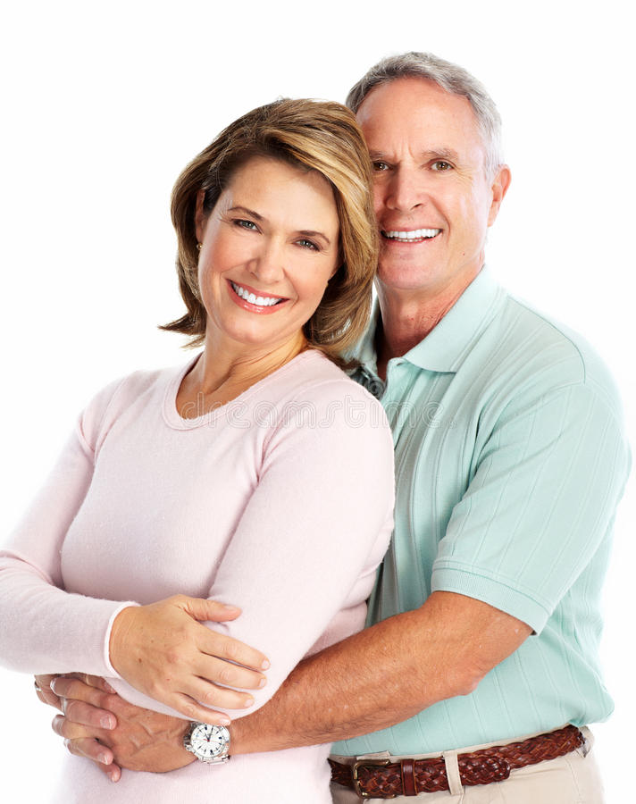 Pares superiores felizes no amor. imagens de stock royalty free
