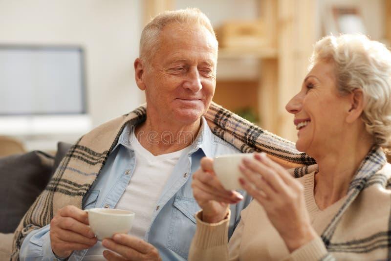 Pares superiores felizes que apreciam o chá foto de stock royalty free