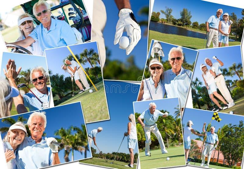 Pares superiores felizes que jogam o golfe fotografia de stock royalty free