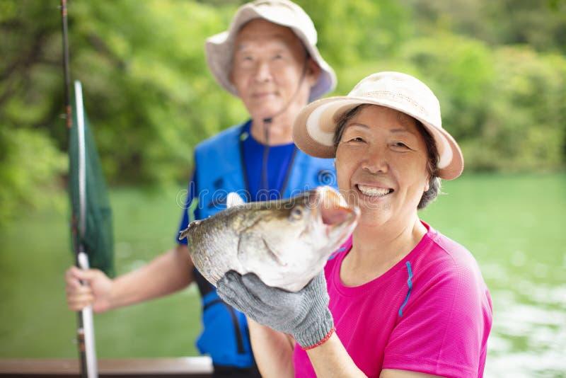 Pares superiores felizes que pescam na beira do lago fotografia de stock royalty free