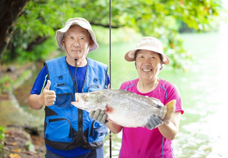 Pares superiores felizes que pescam na beira do lago foto de stock royalty free