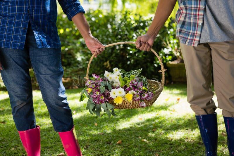 Pares superiores que andam no jardim com cesta da flor imagem de stock royalty free