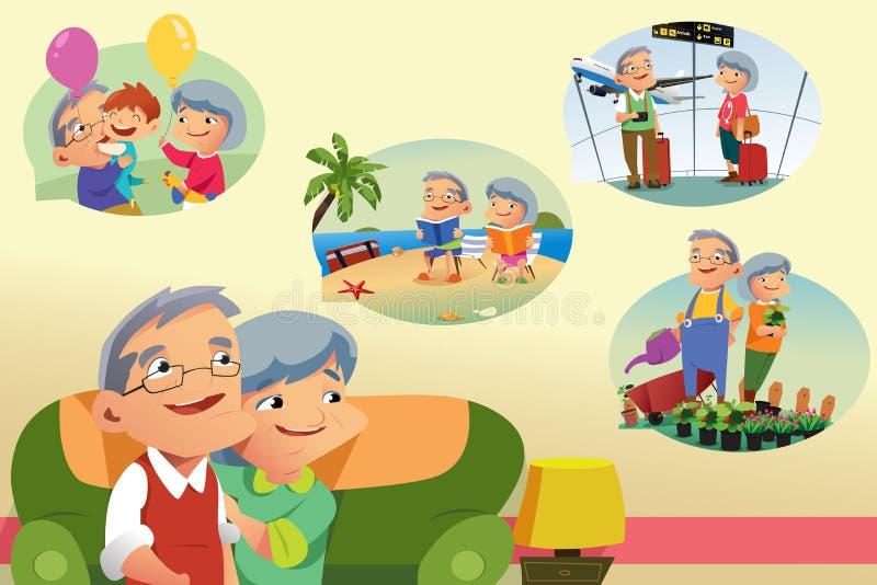 Pares superiores que pensam sobre atividades da aposentadoria ilustração royalty free