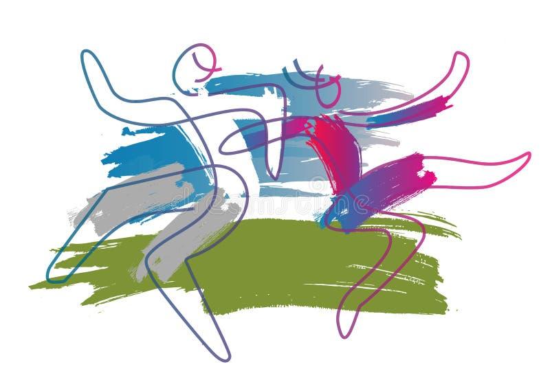 Pares temperamentais da dança em um prado ilustração do vetor