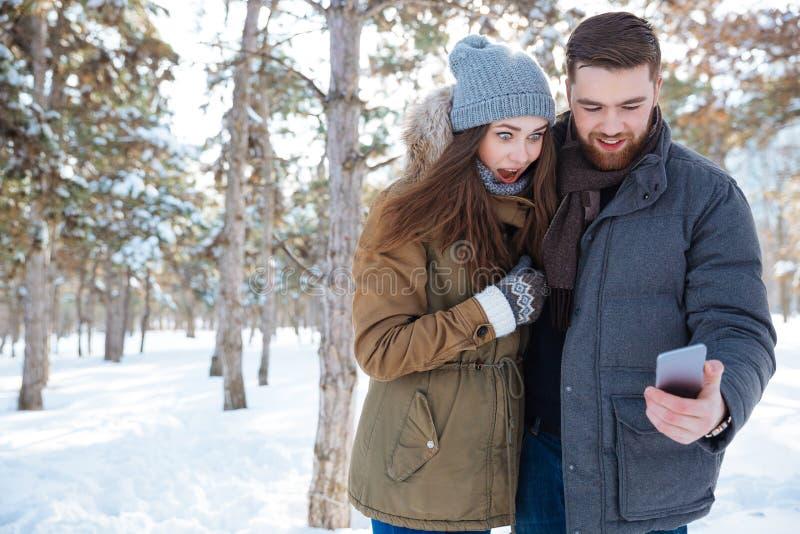 Pares usando smartphone en parque del invierno fotografía de archivo libre de regalías