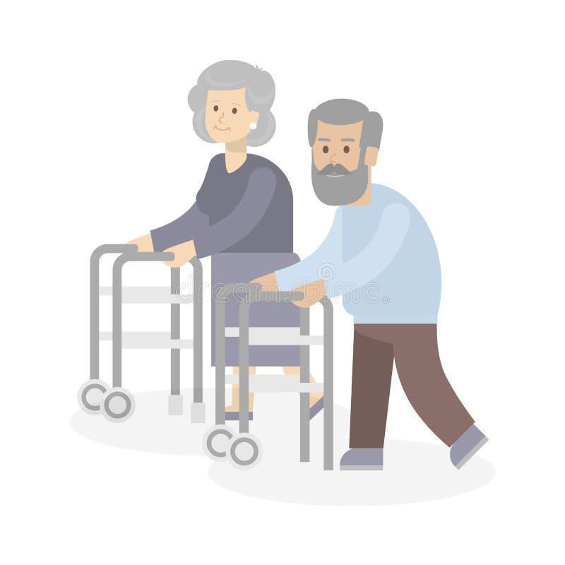 Pares velhos com caminhantes ilustração royalty free