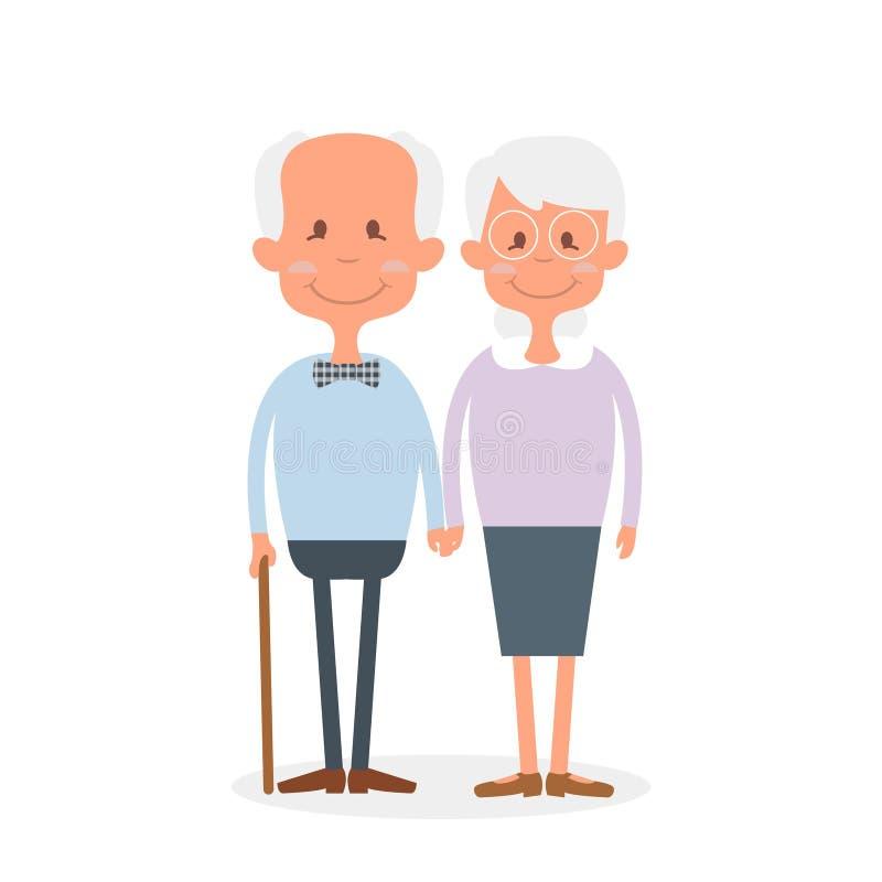 Pares velhos felizes junto Pares bonitos dos sêniores que guardam as mãos Dia feliz das avós Ilustração do vetor da aposentadoria ilustração stock