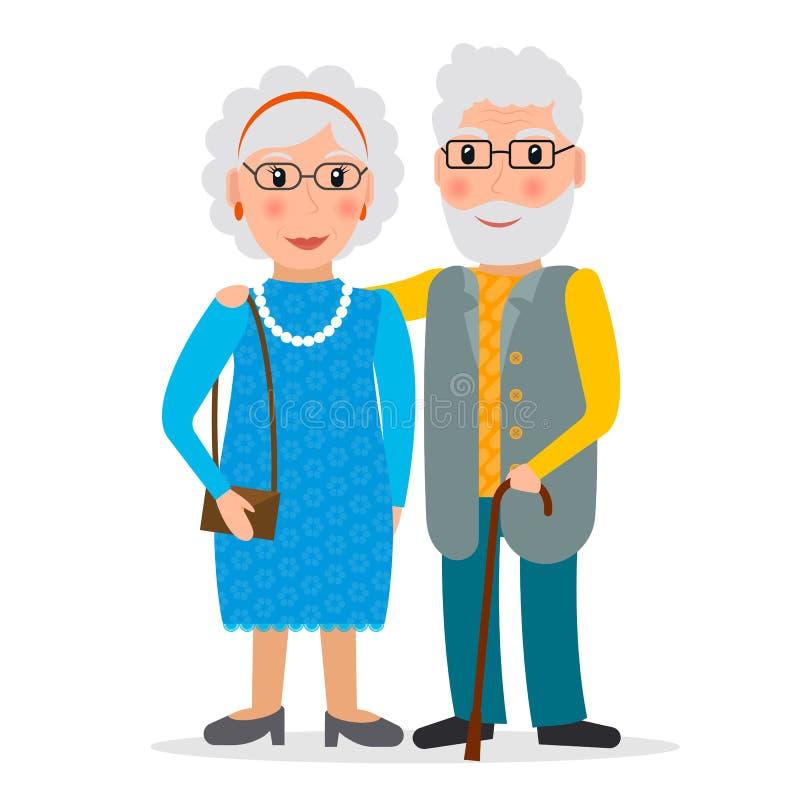 Pares velhos - homem e mulher ilustração do vetor
