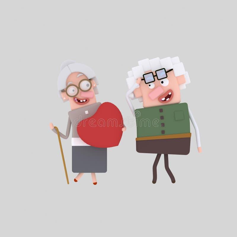 Pares velhos no amor ilustração do vetor