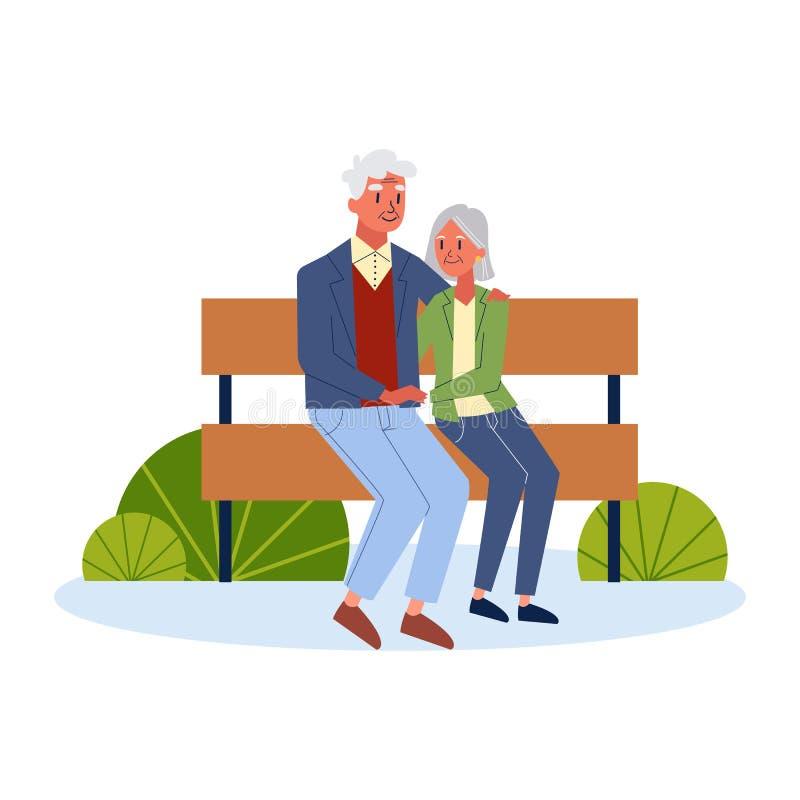 Pares velhos que sentam-se no banco junto Homem s?nior ilustração stock