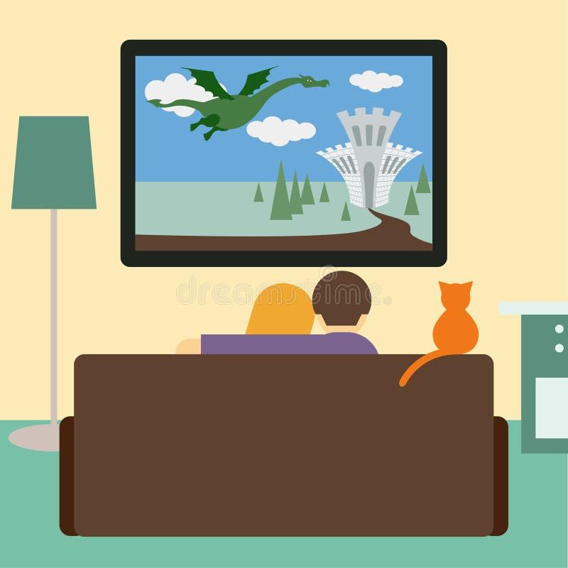 Pares y gato que miran la película de la aventura en la televisión ilustración del vector