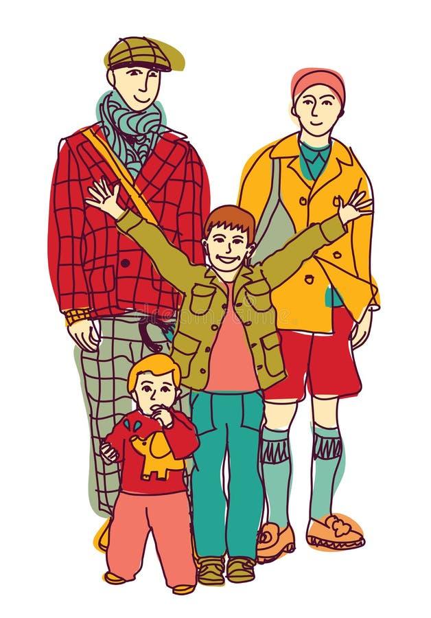 Pares y niños gay homosexuales de la familia del lgbt ilustración del vector