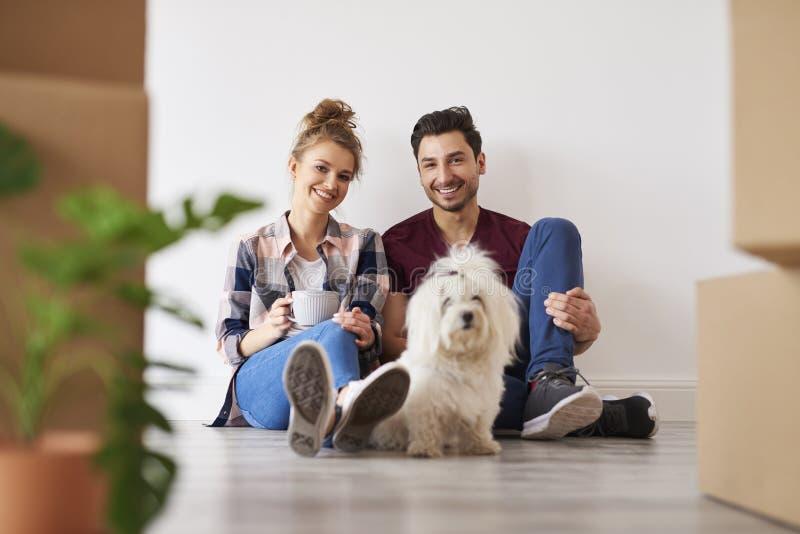 Pares y perro sonrientes en su nuevo hogar imágenes de archivo libres de regalías