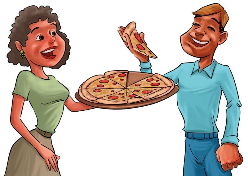 Pares y pizza stock de ilustración