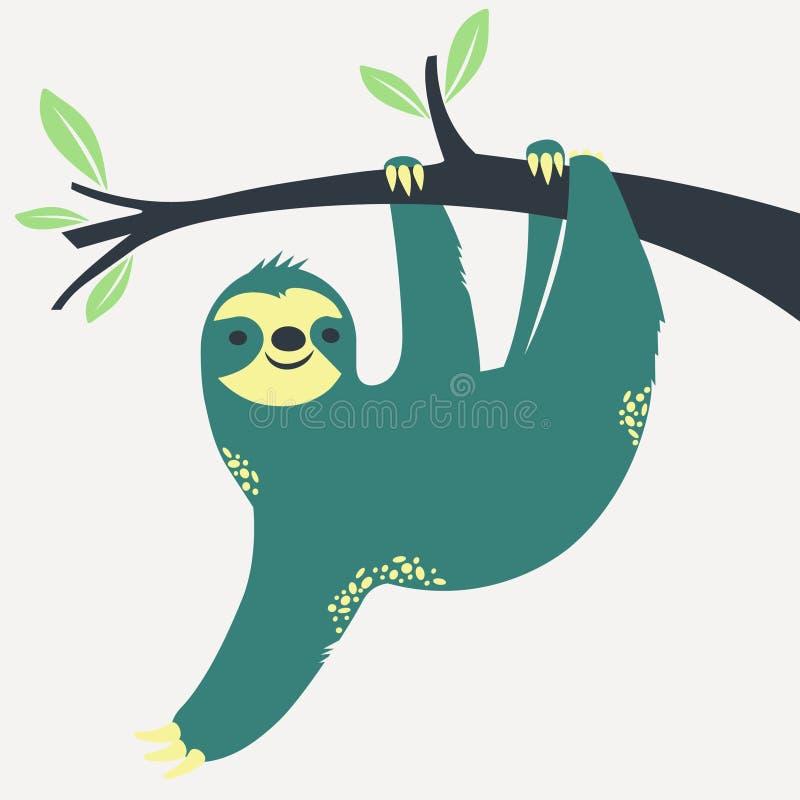 Paresse accrochant sur l'arbre illustration de vecteur