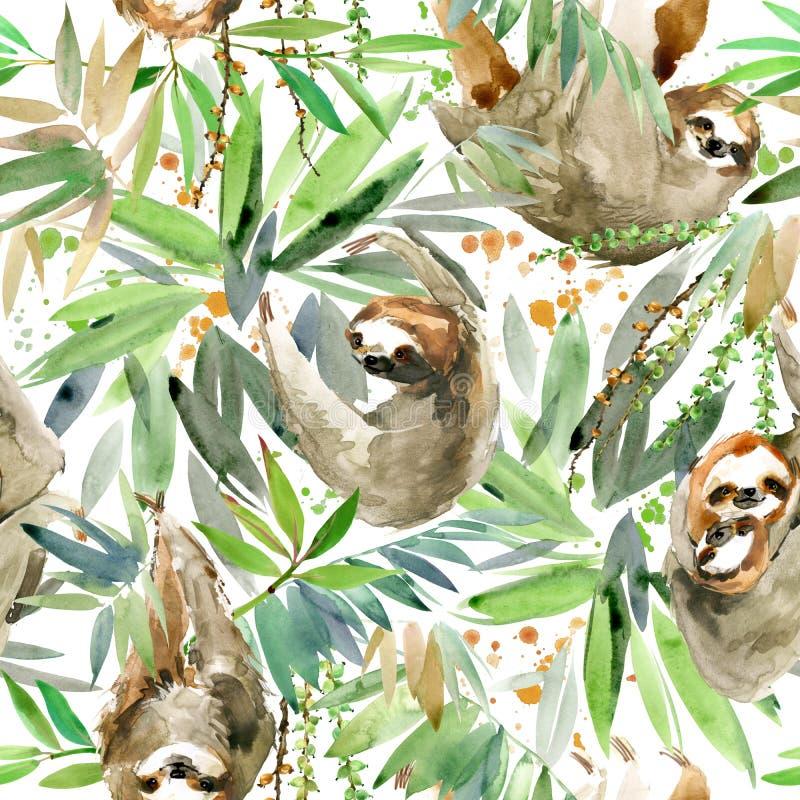 Paresse d'aquarelle et modèle sans couture de plante tropicale animal tropical illustration stock
