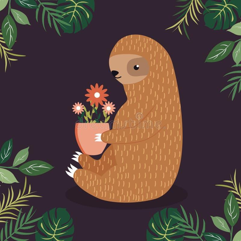 Paresse mignonne avec un pot de fleurs illustration stock