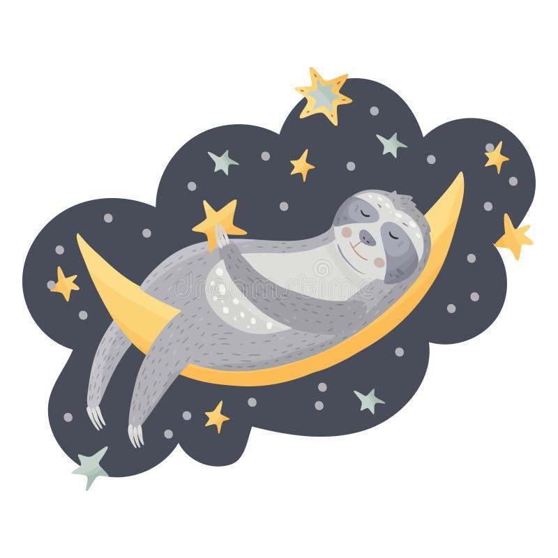 Paresse mignonne de bande dessinée dormant sur la lune illustration stock
