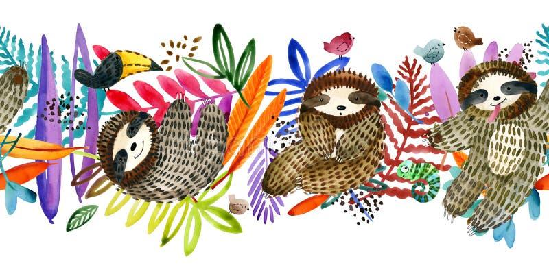 Paresse mignonne et modèle sans couture de plante tropicale tropical illustration de vecteur