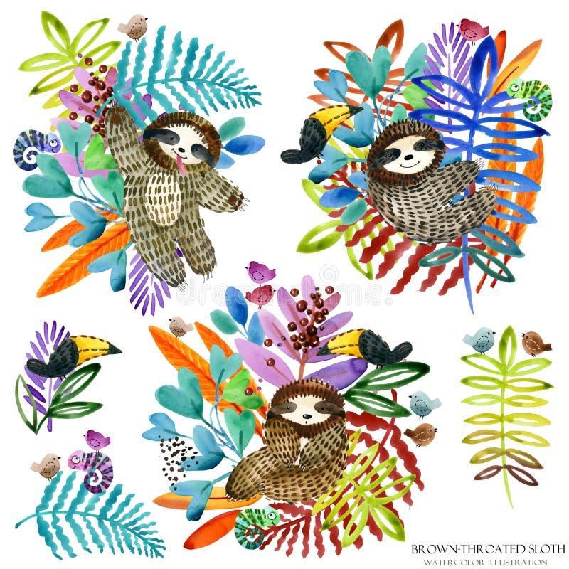 Paresse mignonne et nature tropicale illustration stock