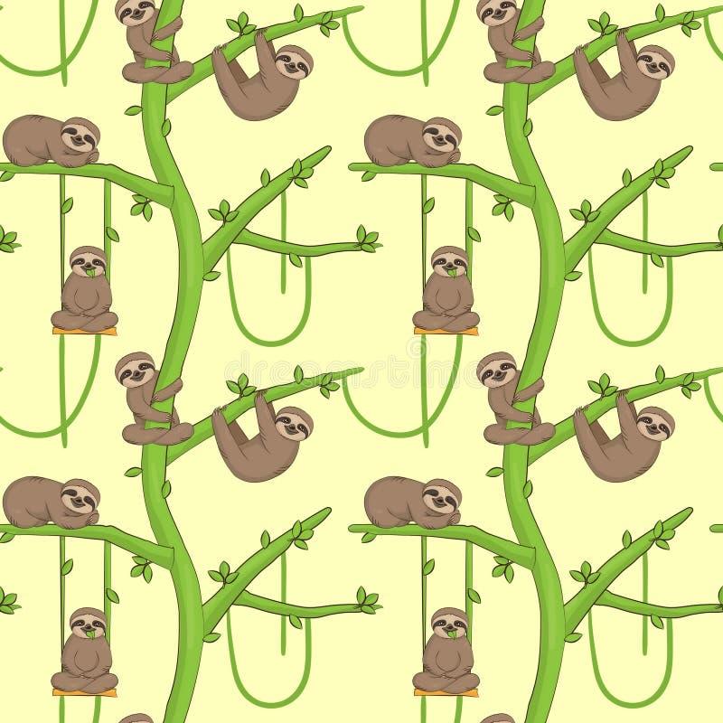 Paresse sans couture sur l'arbre patern illustration stock