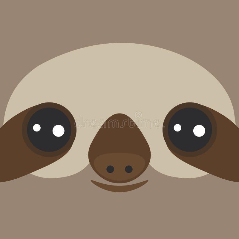Paresse Trois-bottée avec la pointe du pied de sourire drôle et mignonne sur le fond brun Vecteur illustration stock