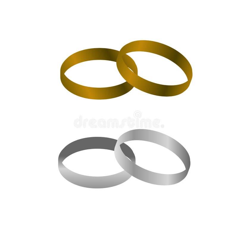 Paret för guld- och silvermetallbröllop ringer på isolerad bakgrund stock illustrationer