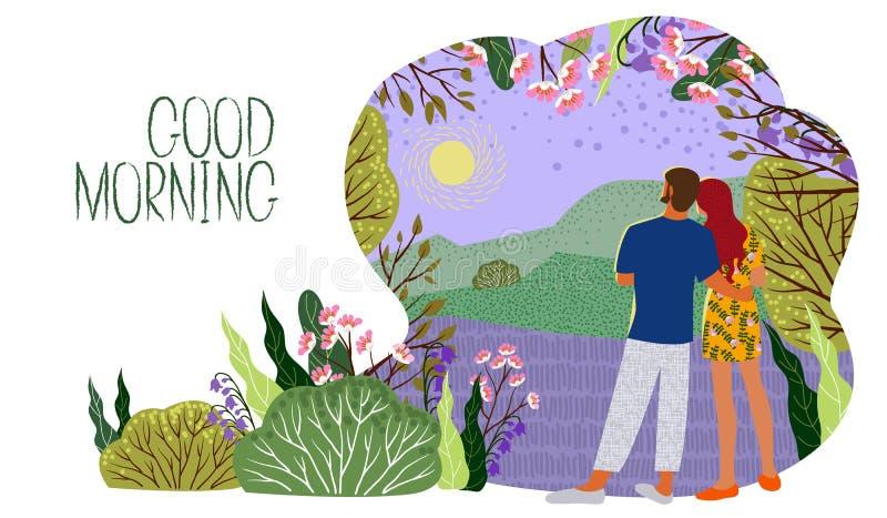 Paret möter ny dag Soluppgång kullar, blommor, träd, naturligt landskap i en moderiktig plan gullig stil Horisontalvektor vektor illustrationer