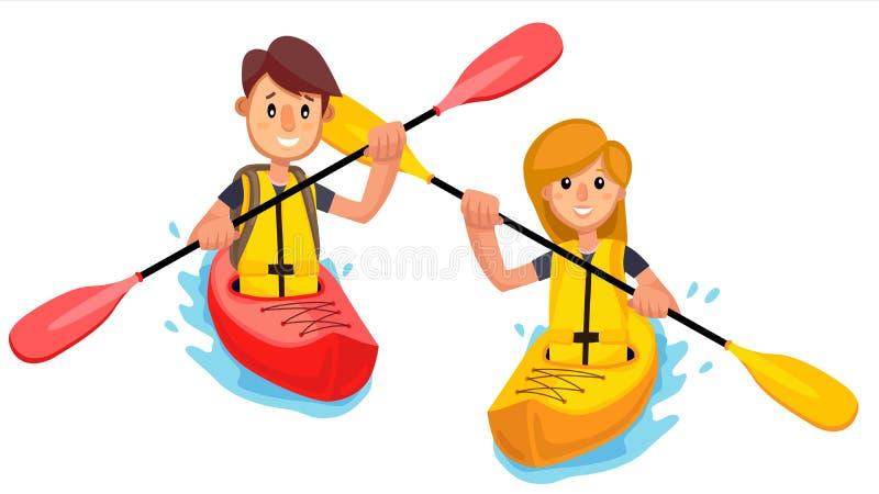 Paret rider ett kajakfartyg på sjövektorn isolerad knapphandillustration skjuta s-startkvinnan stock illustrationer
